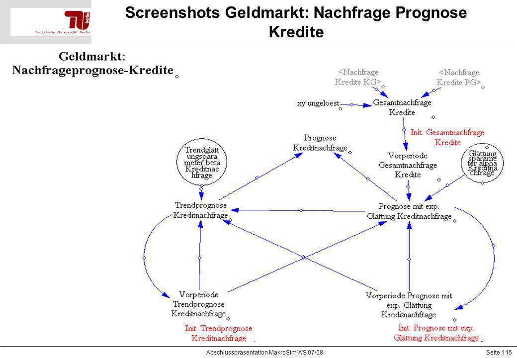 Screenshots Geldmarkt: Nachfrage Prognose Kredite