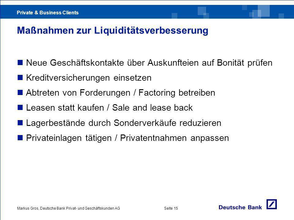 Maßnahmen zur Liquiditätsverbesserung