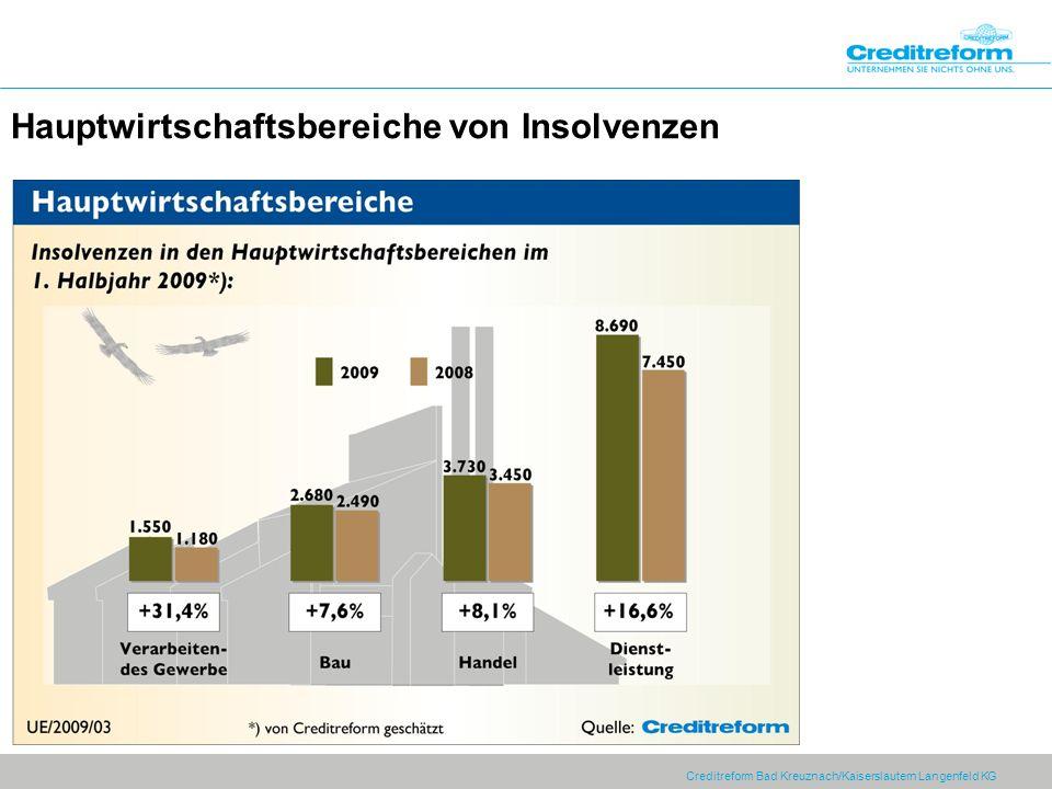 Hauptwirtschaftsbereiche von Insolvenzen