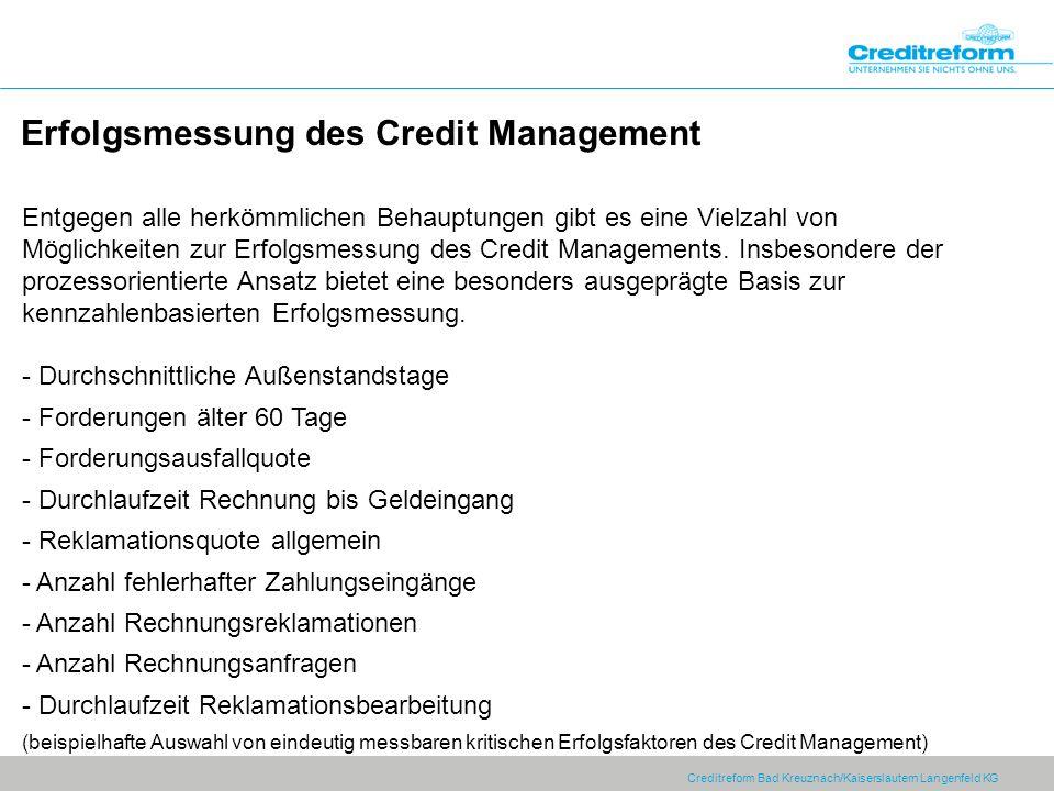 Erfolgsmessung des Credit Management