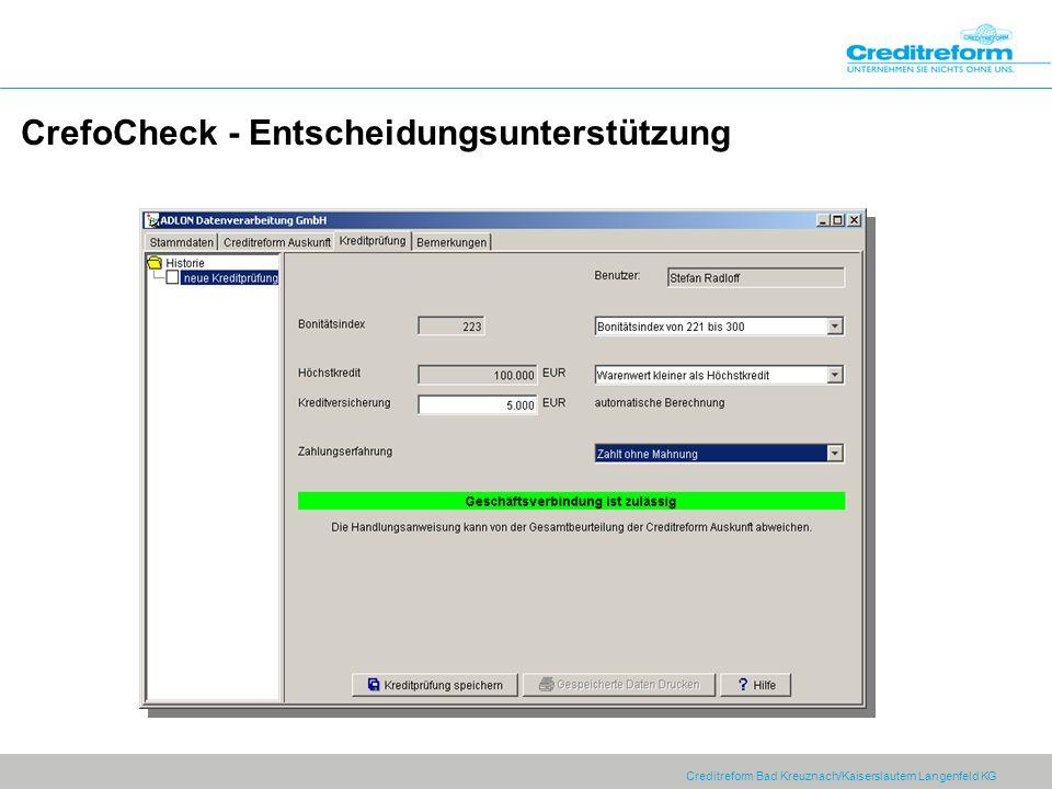 CrefoCheck - Entscheidungsunterstützung