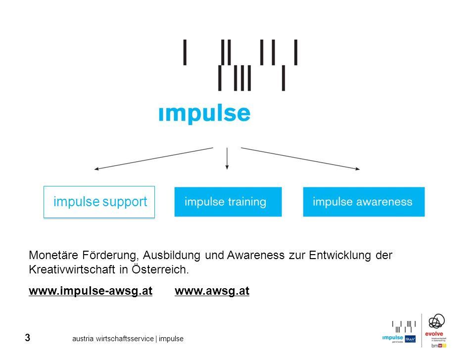 impulse support Monetäre Förderung, Ausbildung und Awareness zur Entwicklung der Kreativwirtschaft in Österreich.