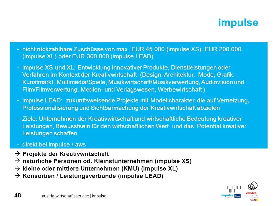 impulse nicht rückzahlbare Zuschüsse von max. EUR 45.000 (impulse XS), EUR 200.000 (impulse XL) oder EUR 300.000 (impulse LEAD)