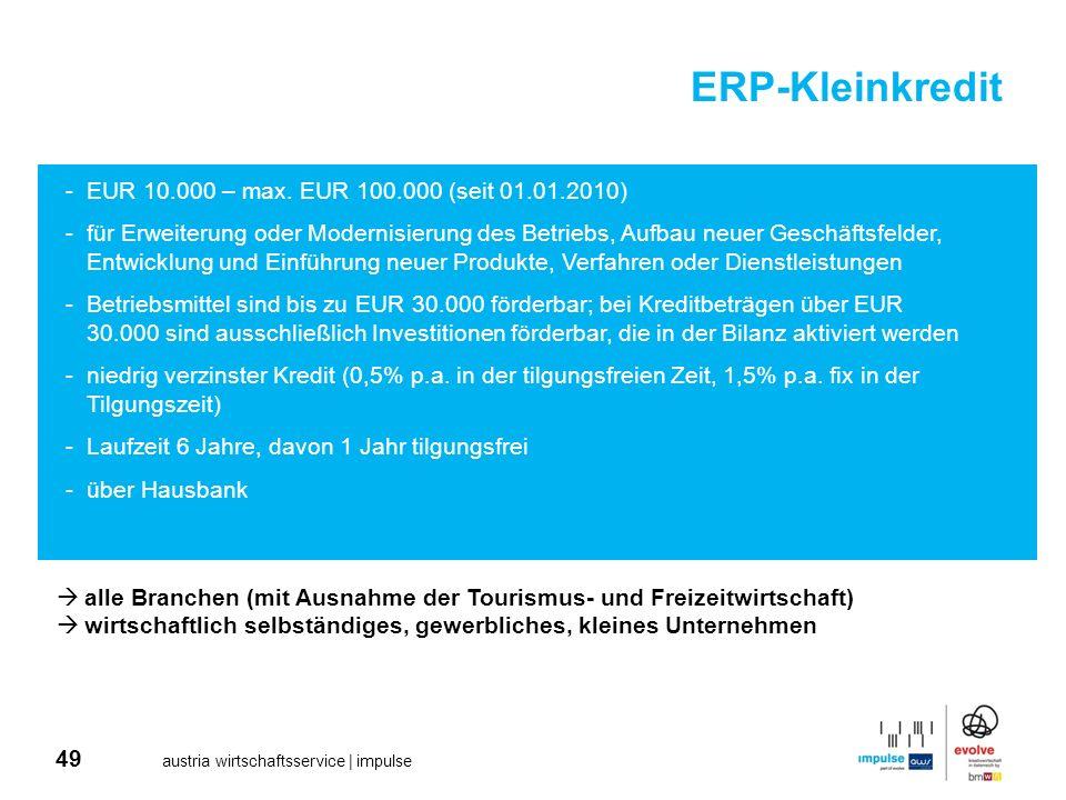 ERP-Kleinkredit EUR 10.000 – max. EUR 100.000 (seit 01.01.2010)