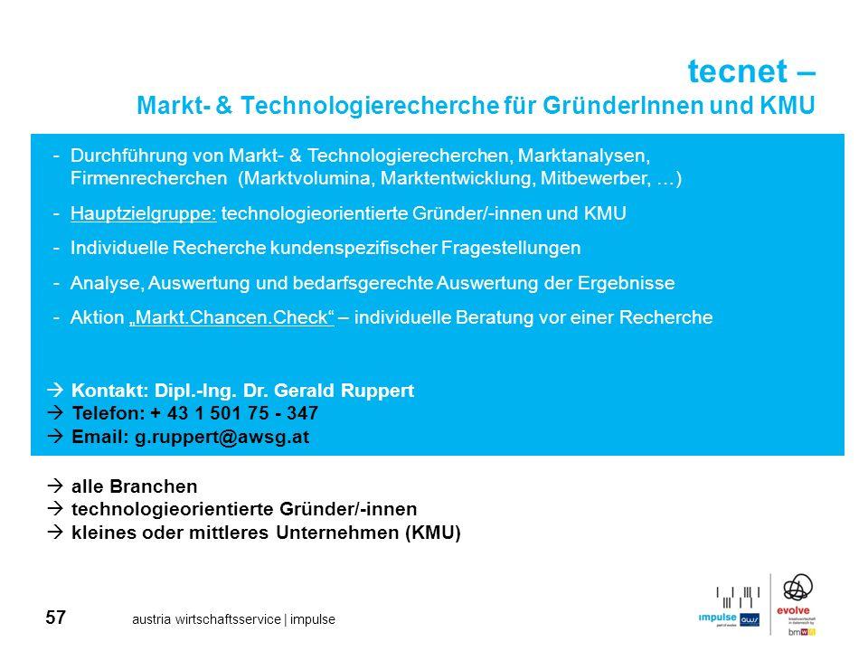 tecnet – Markt- & Technologierecherche für GründerInnen und KMU