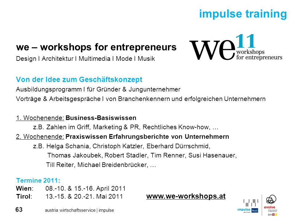 impulse training we – workshops for entrepreneurs
