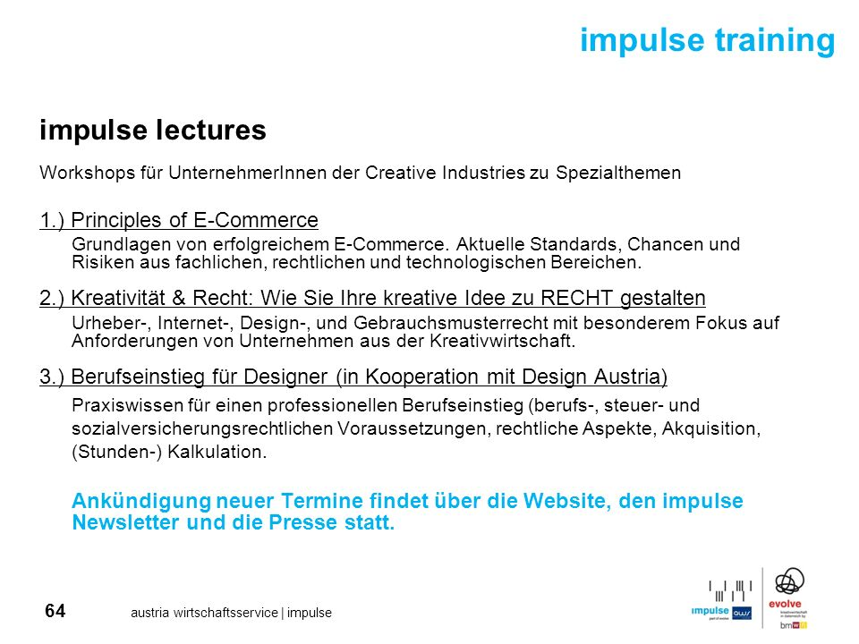 impulse training impulse lectures 1.) Principles of E-Commerce