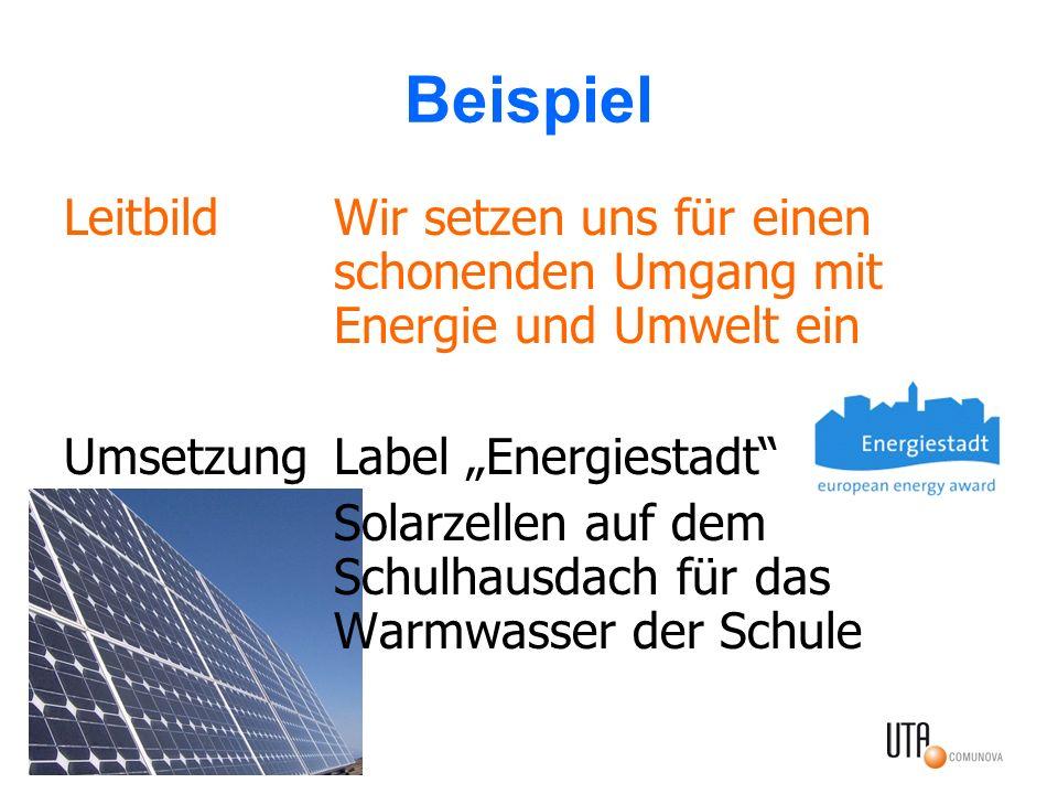 """Beispiel Leitbild Wir setzen uns für einen schonenden Umgang mit Energie und Umwelt ein. Umsetzung Label """"Energiestadt"""