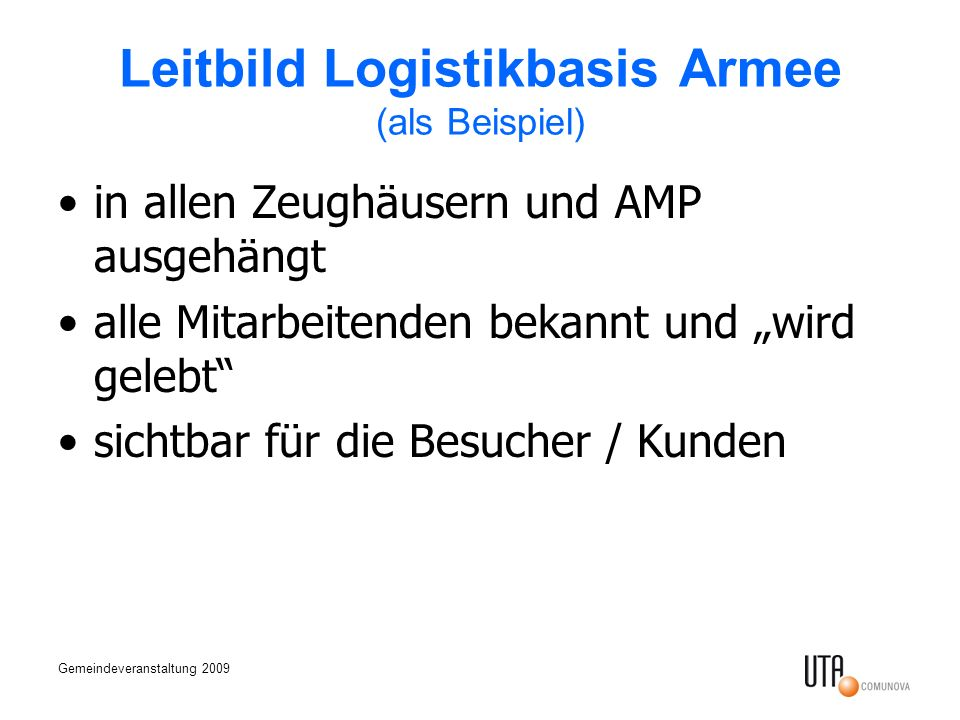 Leitbild Logistikbasis Armee (als Beispiel)