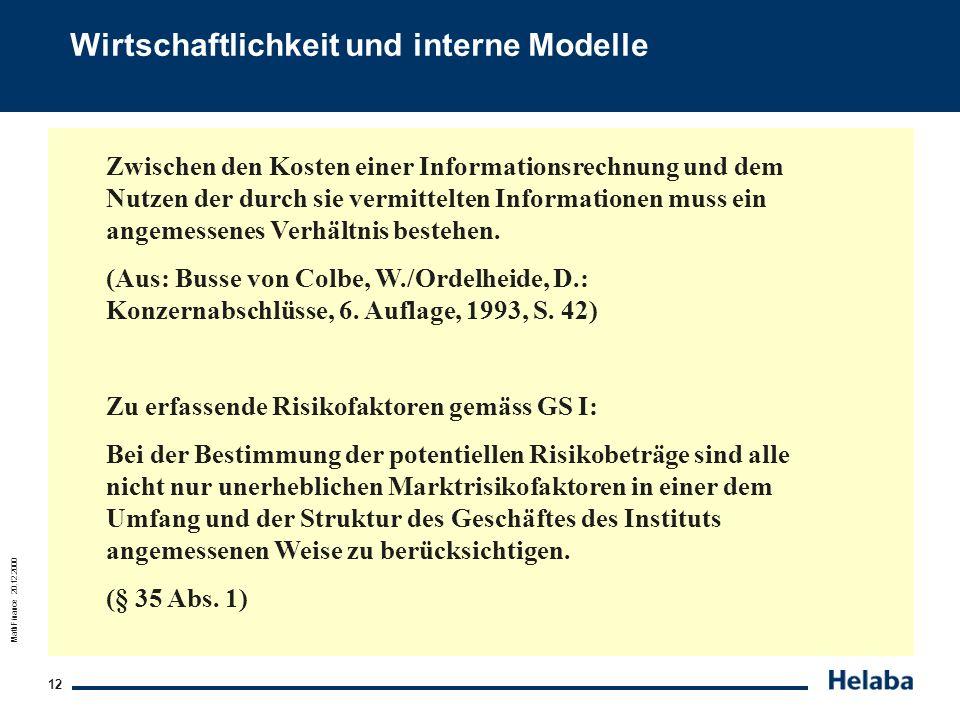 Wirtschaftlichkeit und interne Modelle