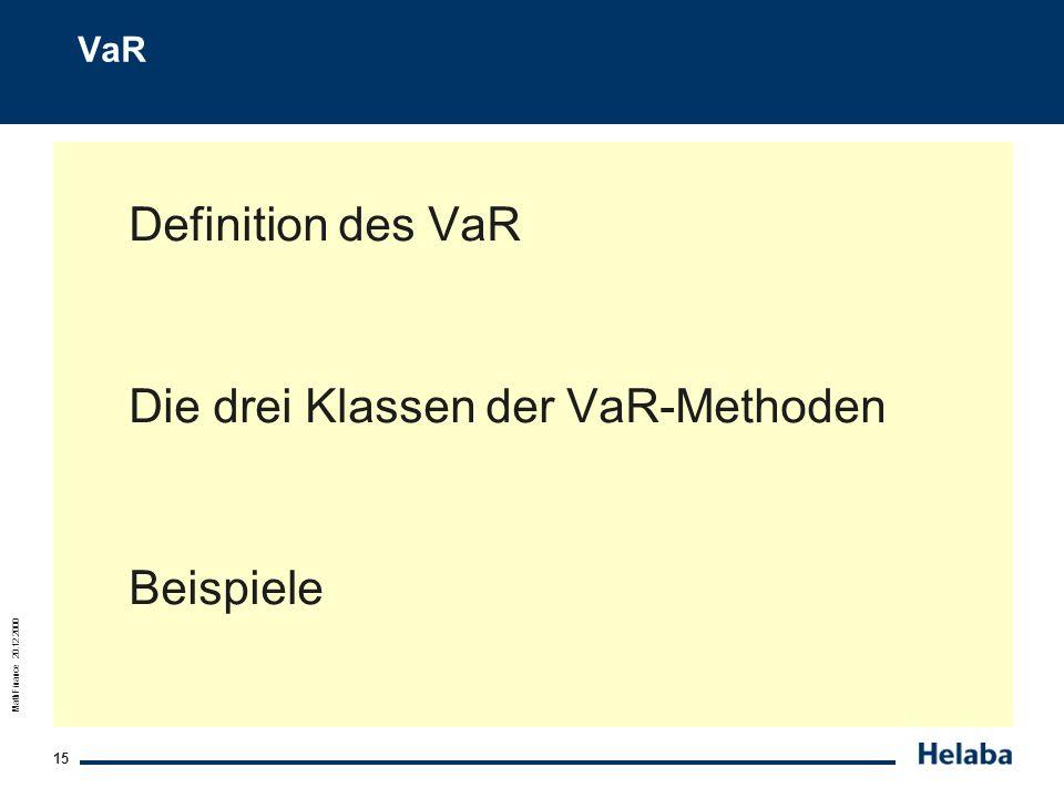Die drei Klassen der VaR-Methoden