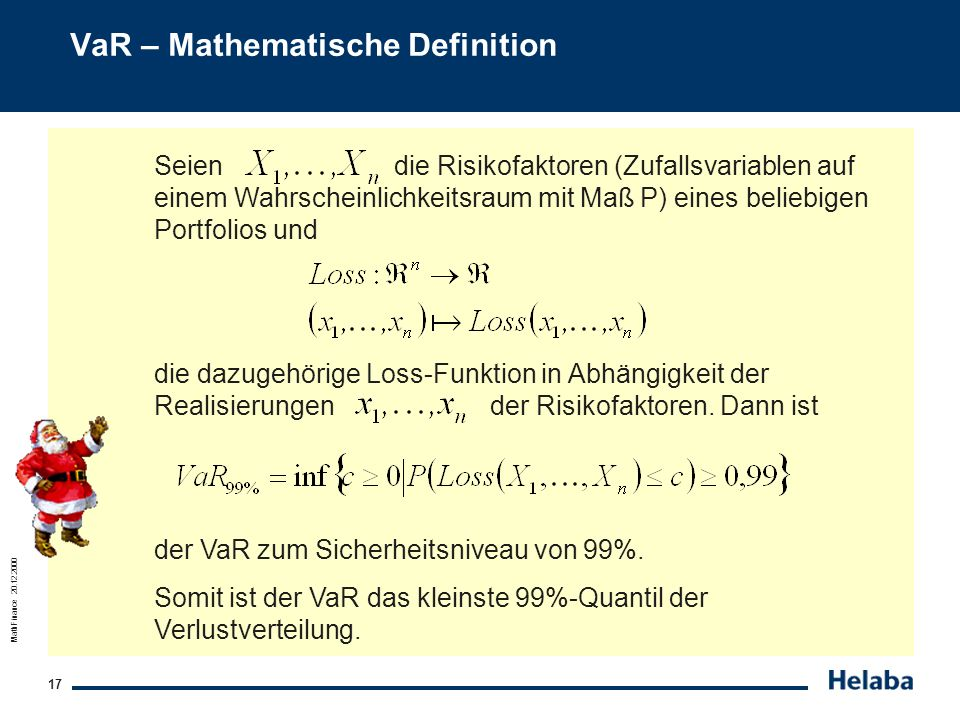 VaR – Mathematische Definition