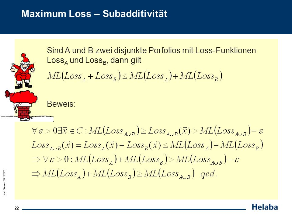 Maximum Loss – Subadditivität
