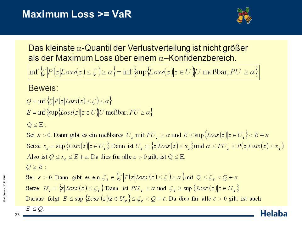Maximum Loss >= VaR Das kleinste -Quantil der Verlustverteilung ist nicht größer als der Maximum Loss über einem –Konfidenzbereich.