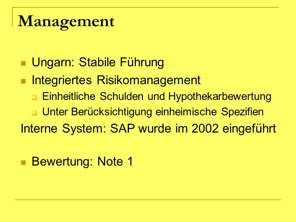 Management Ungarn: Stabile Führung Integriertes Risikomanagement
