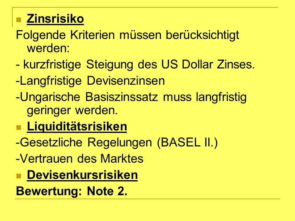 Zinsrisiko Folgende Kriterien müssen berücksichtigt werden: - kurzfristige Steigung des US Dollar Zinses.