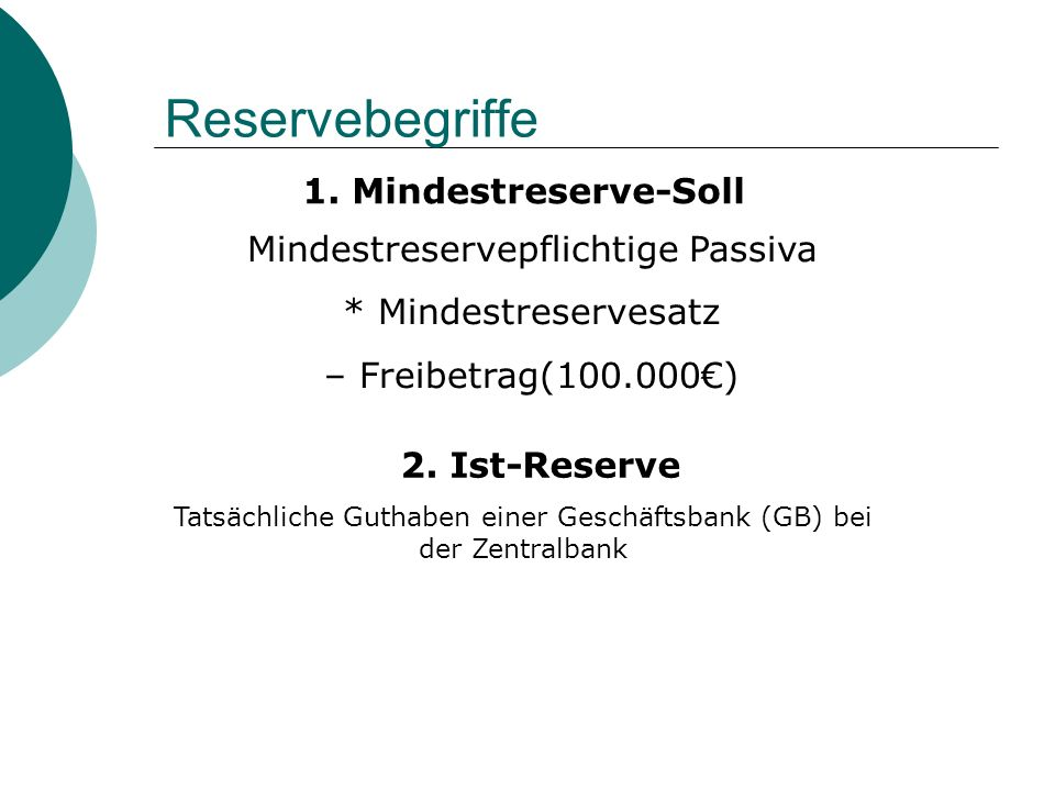Reservebegriffe 1. Mindestreserve-Soll