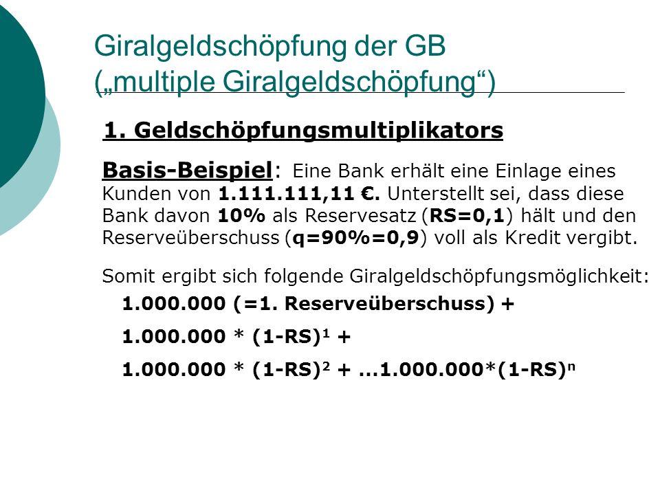 """Giralgeldschöpfung der GB (""""multiple Giralgeldschöpfung )"""