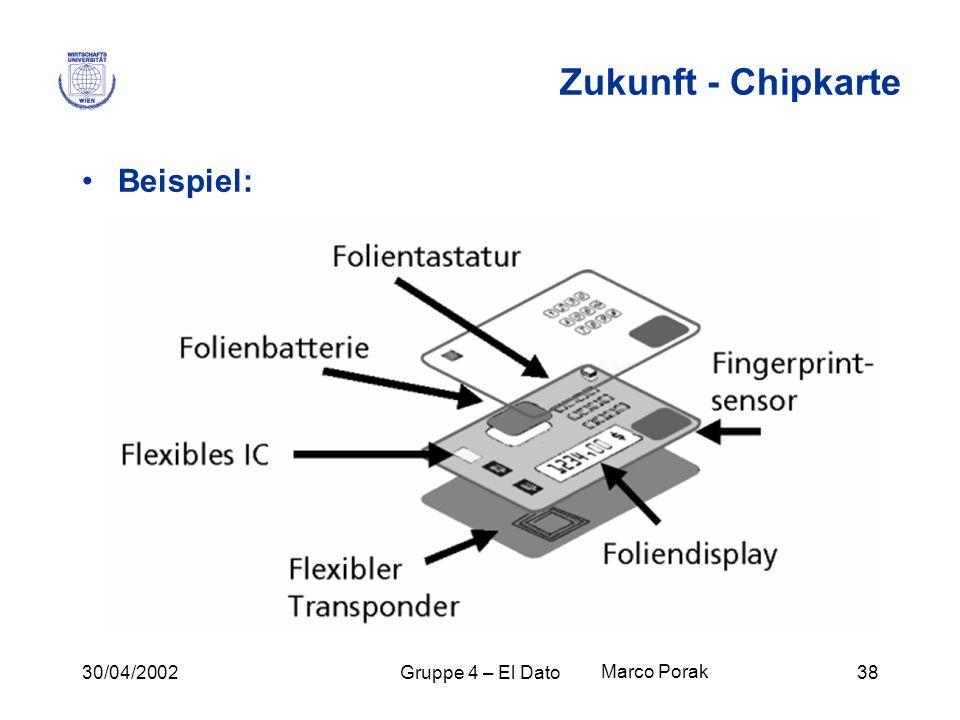 Zukunft - Chipkarte Beispiel: 30/04/2002 Gruppe 4 – El Dato
