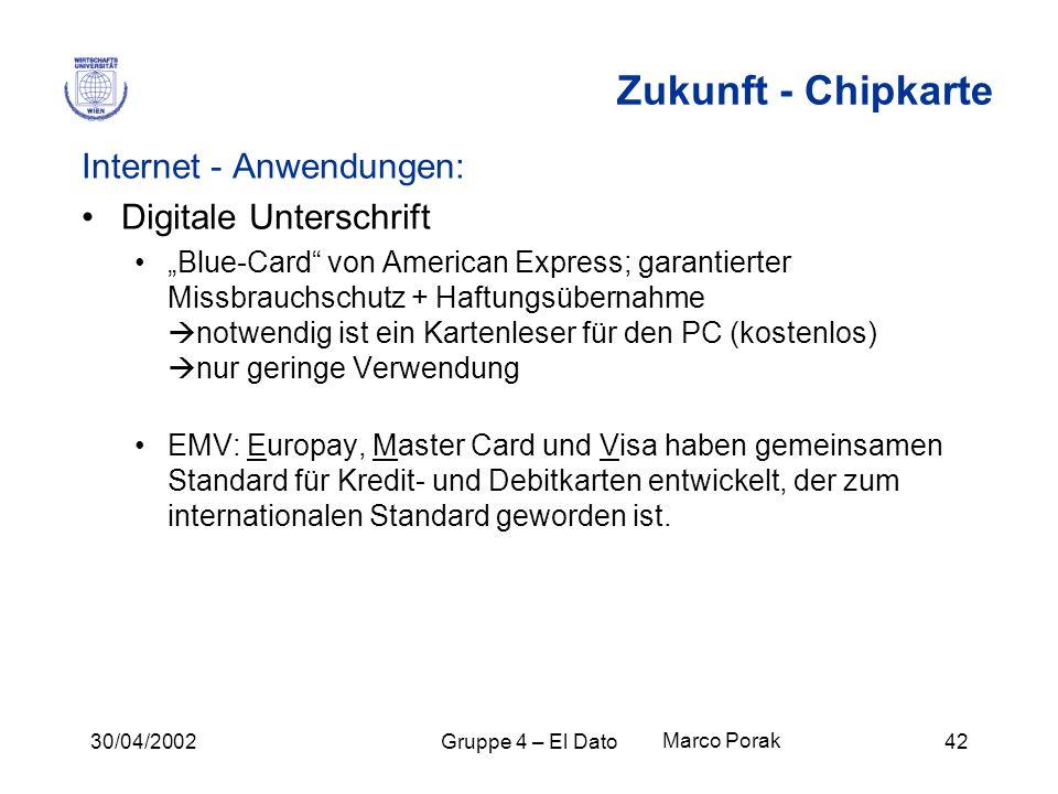 Zukunft - Chipkarte Internet - Anwendungen: Digitale Unterschrift