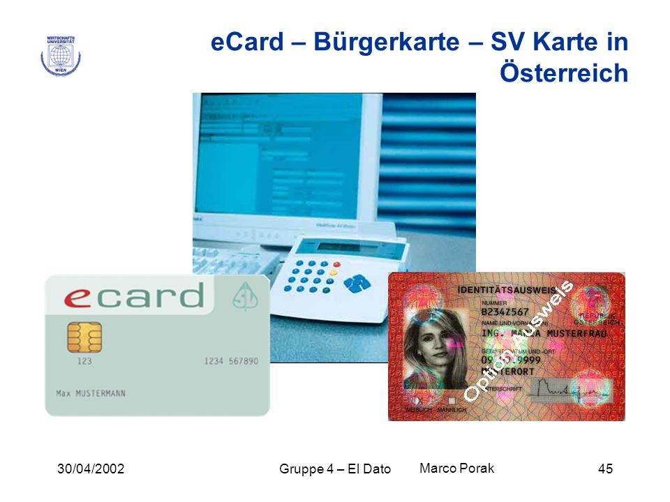 eCard – Bürgerkarte – SV Karte in Österreich