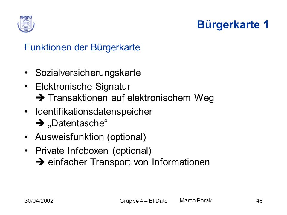Bürgerkarte 1 Funktionen der Bürgerkarte Sozialversicherungskarte