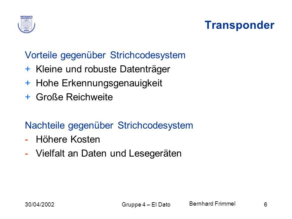 Transponder Vorteile gegenüber Strichcodesystem