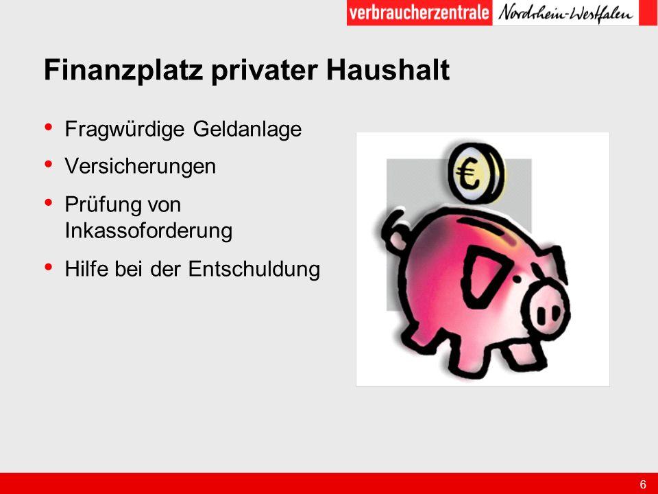 Finanzplatz privater Haushalt
