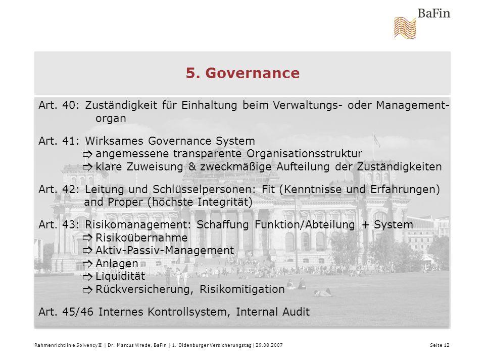 5. Governance Art. 40: Zuständigkeit für Einhaltung beim Verwaltungs- oder Management- organ. Art. 41: Wirksames Governance System.