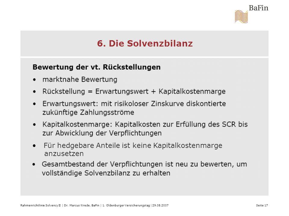 6. Die Solvenzbilanz Für hedgebare Anteile ist keine Kapitalkostenmarge. anzusetzen.