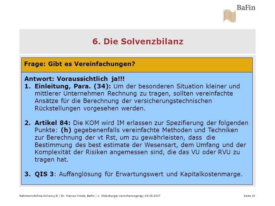 6. Die Solvenzbilanz Frage: Gibt es Vereinfachungen