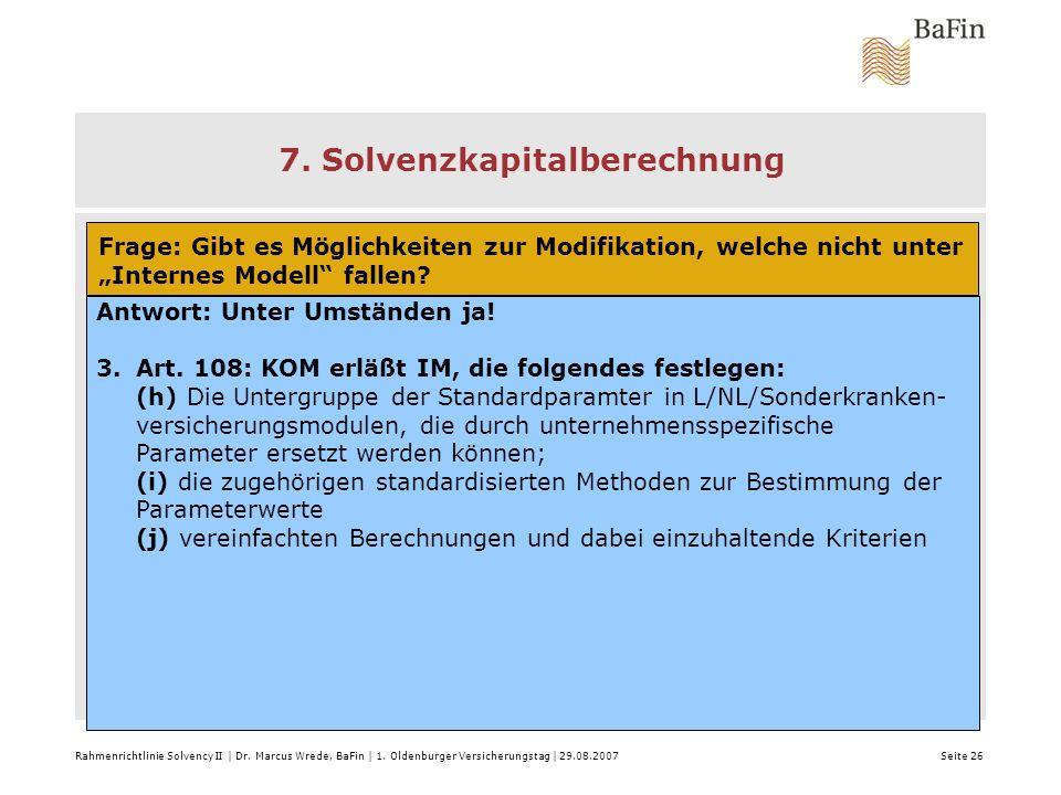 7. Solvenzkapitalberechnung