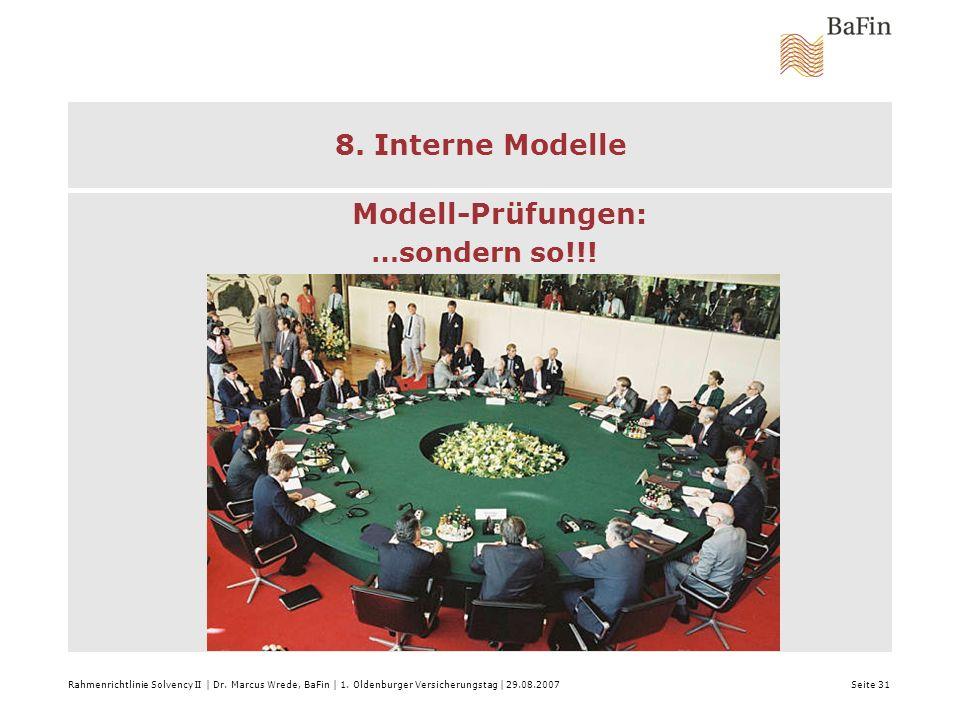 8. Interne Modelle Modell-Prüfungen: …sondern so!!!