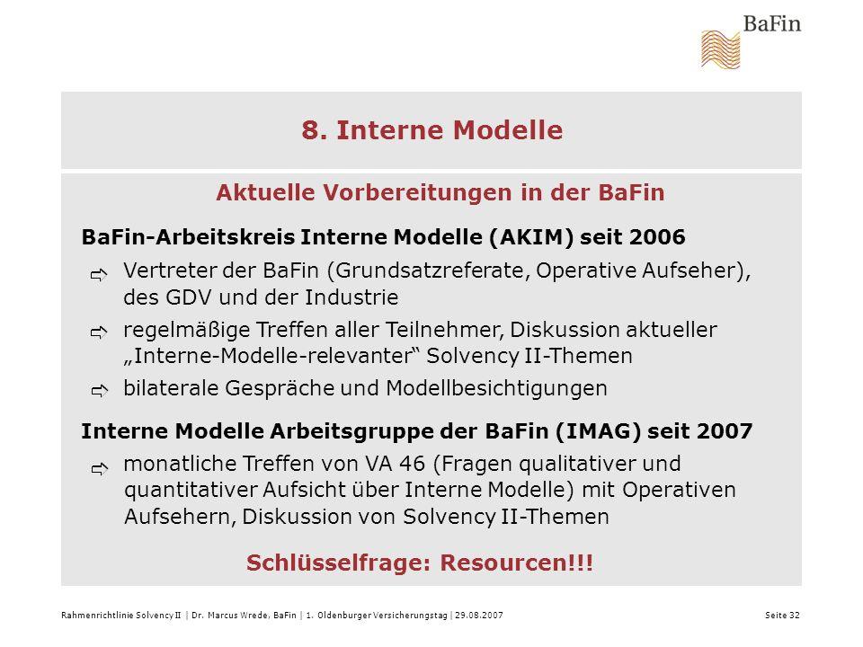 8. Interne Modelle Aktuelle Vorbereitungen in der BaFin
