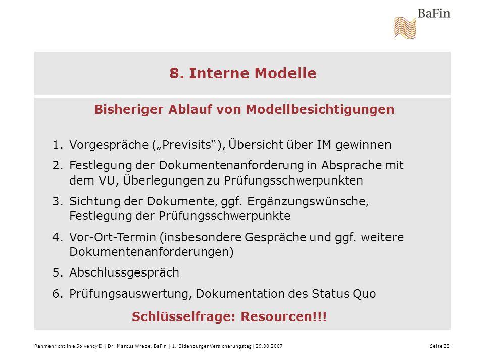 8. Interne Modelle Modell-Prüfungen:
