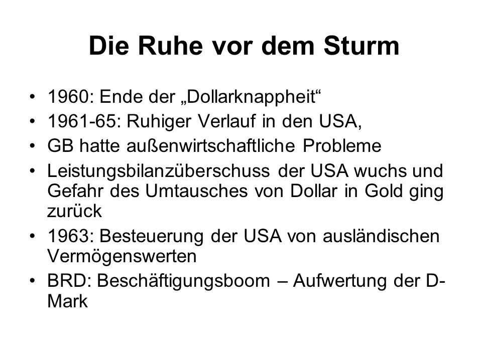 """Die Ruhe vor dem Sturm 1960: Ende der """"Dollarknappheit"""