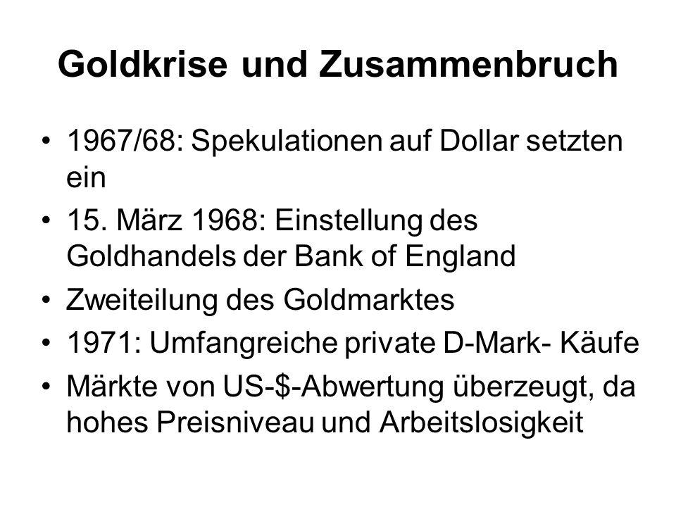 Goldkrise und Zusammenbruch
