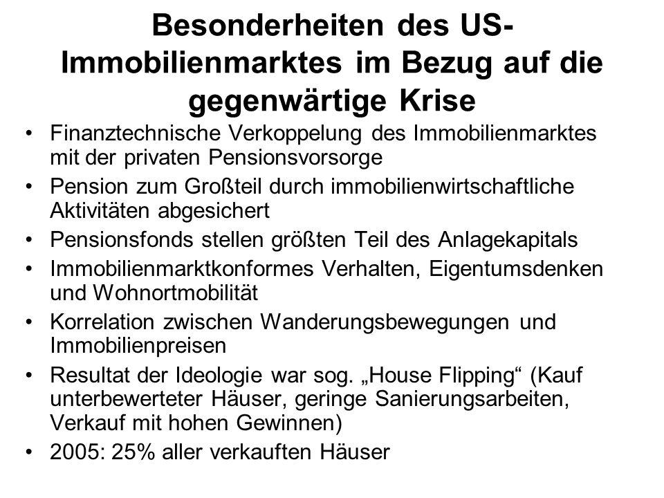 Besonderheiten des US- Immobilienmarktes im Bezug auf die gegenwärtige Krise