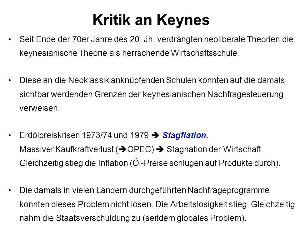 Kritik an Keynes Seit Ende der 70er Jahre des 20. Jh. verdrängten neoliberale Theorien die keynesianische Theorie als herrschende Wirtschaftsschule.
