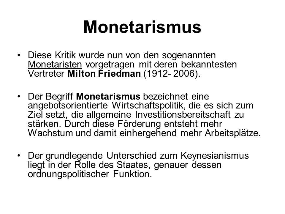 Monetarismus Diese Kritik wurde nun von den sogenannten Monetaristen vorgetragen mit deren bekanntesten Vertreter Milton Friedman (1912- 2006).
