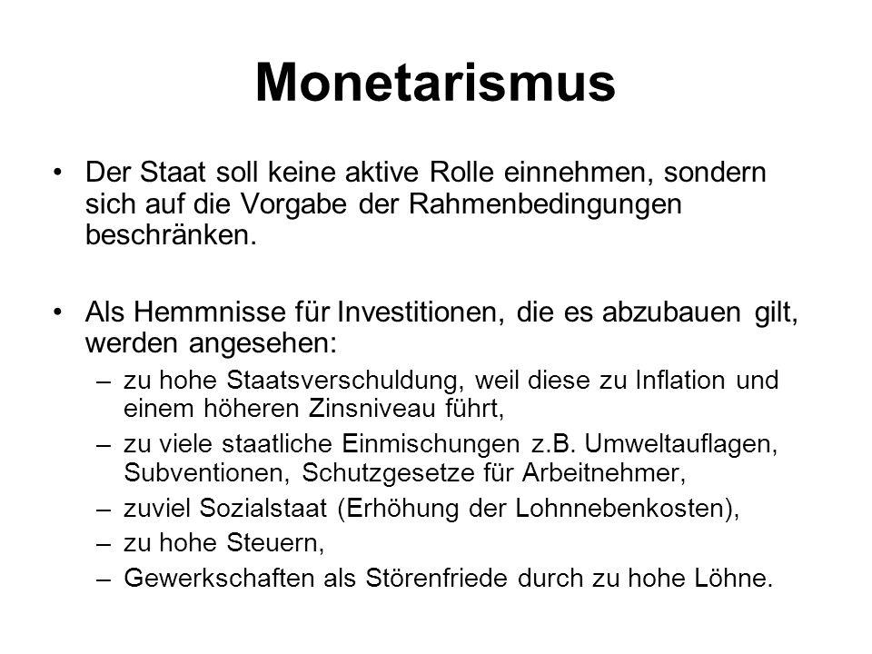 Monetarismus Der Staat soll keine aktive Rolle einnehmen, sondern sich auf die Vorgabe der Rahmenbedingungen beschränken.