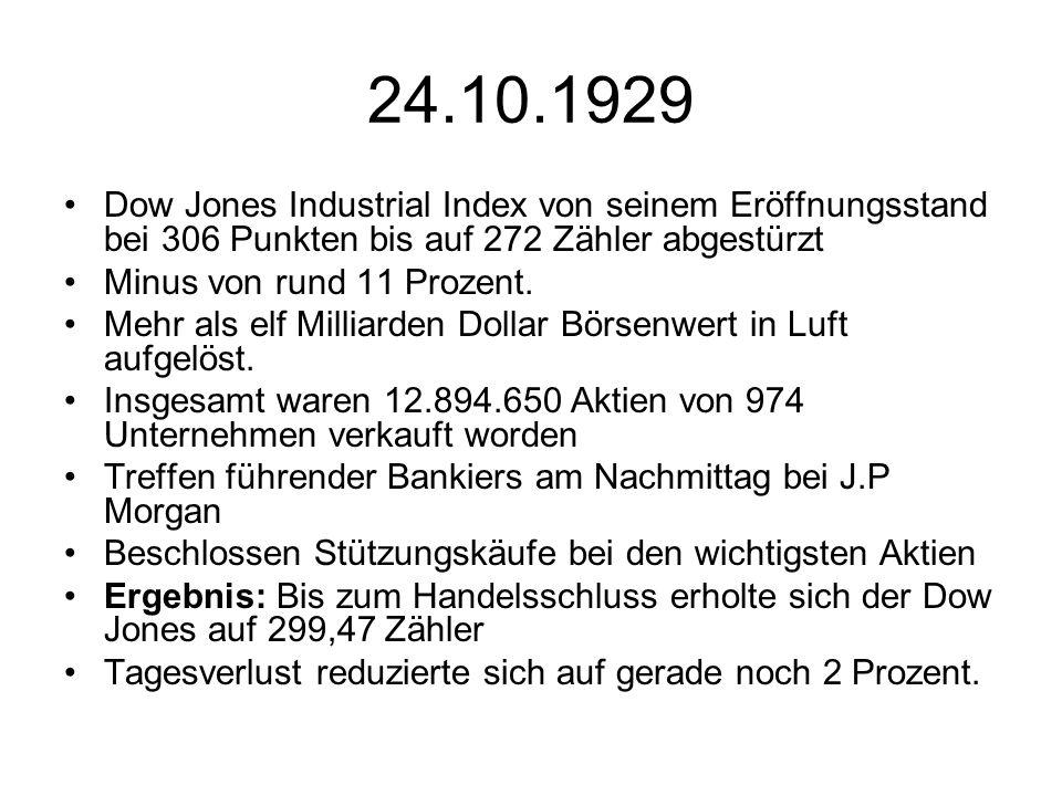 24.10.1929 Dow Jones Industrial Index von seinem Eröffnungsstand bei 306 Punkten bis auf 272 Zähler abgestürzt.