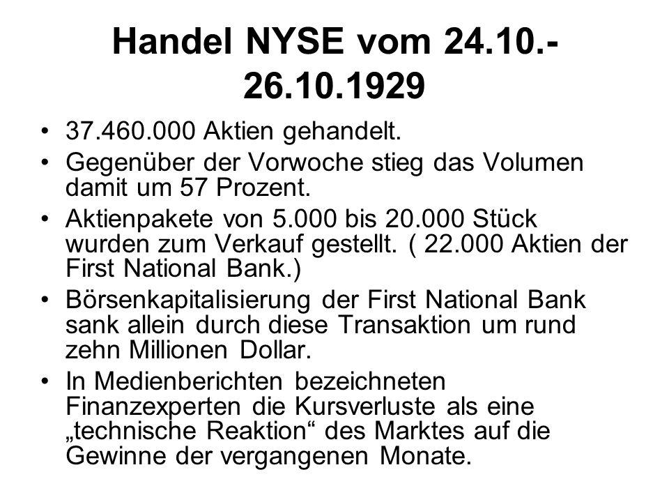 Handel NYSE vom 24.10.- 26.10.1929 37.460.000 Aktien gehandelt.