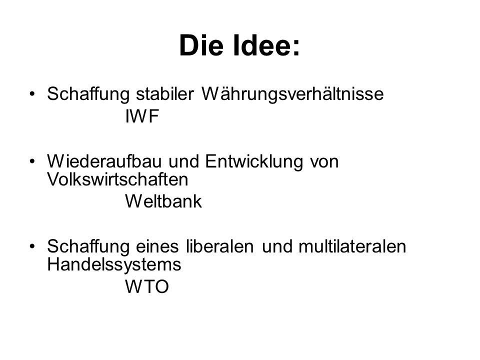 Die Idee: Schaffung stabiler Währungsverhältnisse IWF