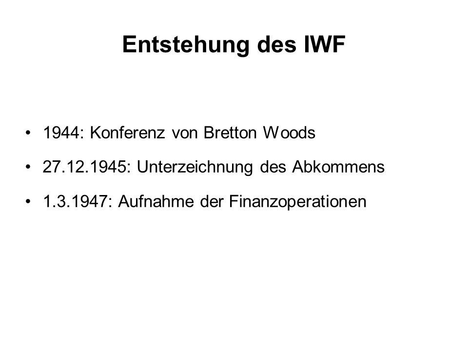 Entstehung des IWF 1944: Konferenz von Bretton Woods