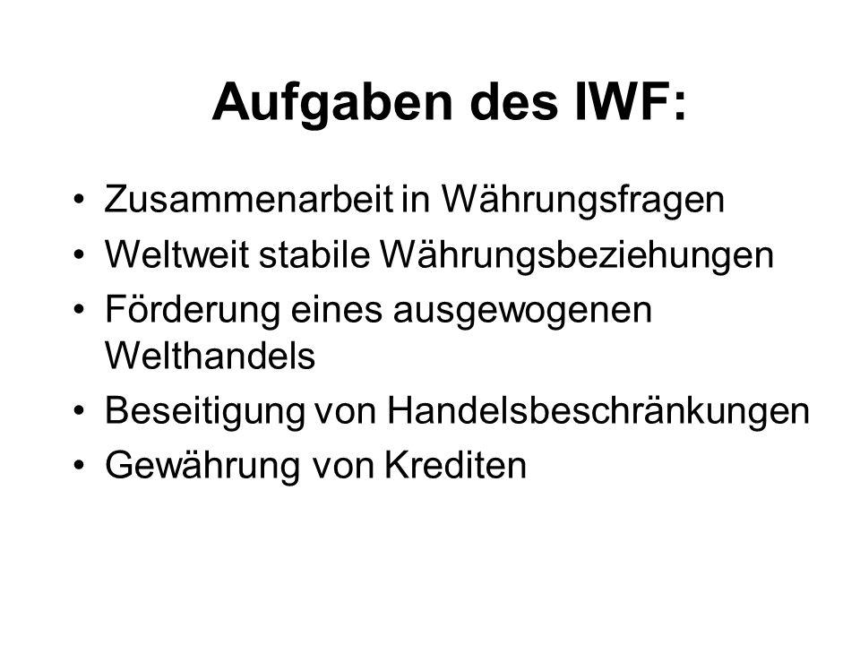 Aufgaben des IWF: Zusammenarbeit in Währungsfragen
