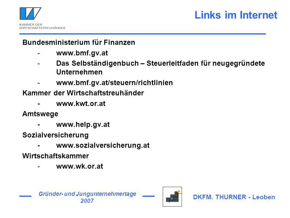 Links im Internet Bundesministerium für Finanzen www.bmf.gv.at