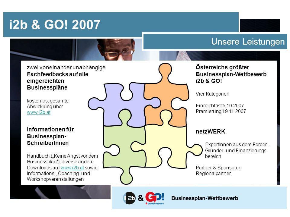 i2b & GO! 2007 Unsere Leistungen Österreichs größter