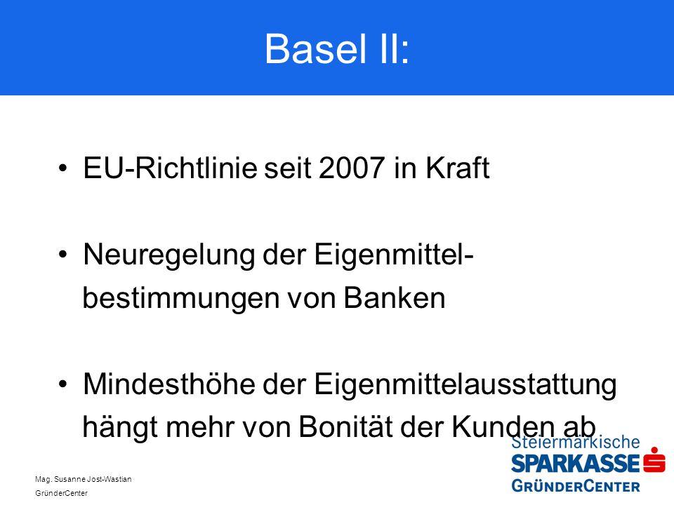 Basel II: EU-Richtlinie seit 2007 in Kraft