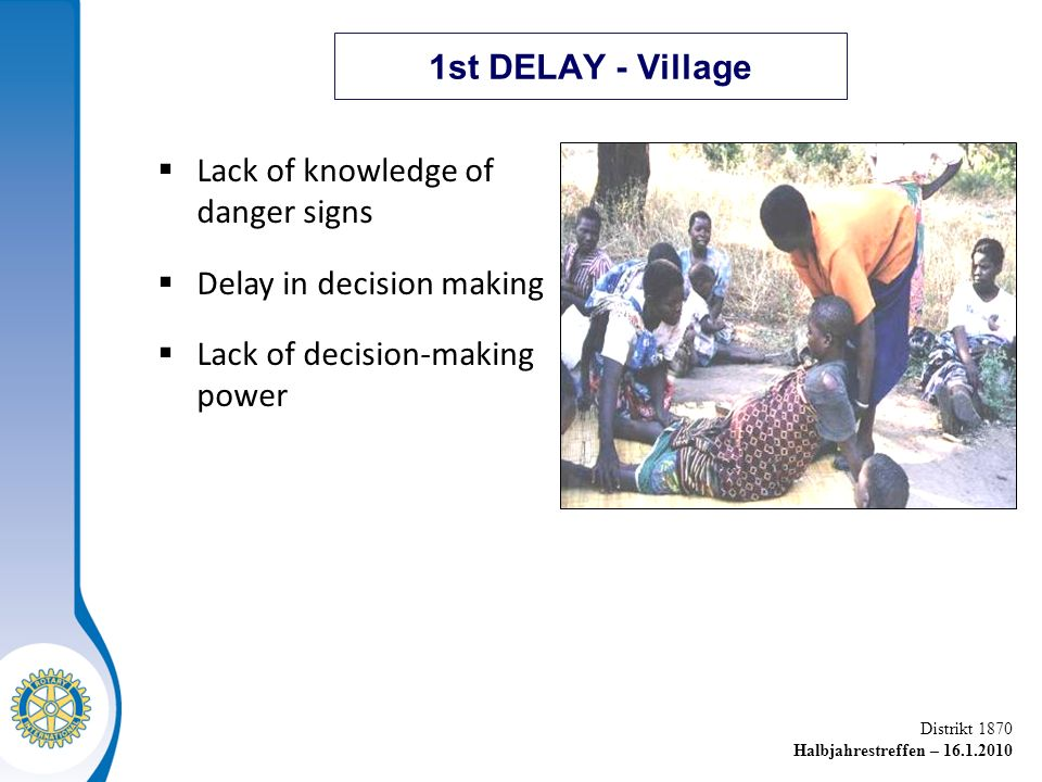 1st DELAY - Village Lack of knowledge of danger signs.